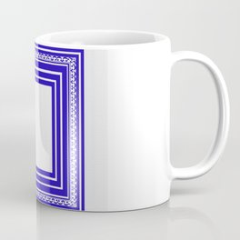 Blue and White Lines Geometric Abstract Pattern Coffee Mug