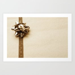 Gift Wrapped Vintage Bow and Ribbon on Plain Paper Art Print