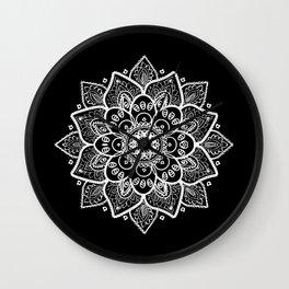 White Mandala On Black Wall Clock