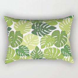 Monstera Leaves Pattern (white background) Rectangular Pillow