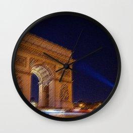 Arc De Triomphe, Paris, A Landscape by Jeanpaul Ferro Wall Clock