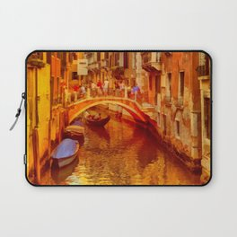 Golden Venice Canal Laptop Sleeve