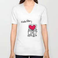 keith haring V-neck T-shirts featuring Keith Allen Haring Shirt by cvrcak