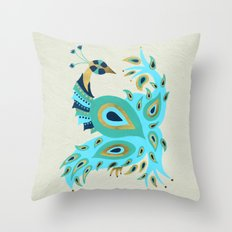 Peacock – Turquoise & Gold Throw Pillow