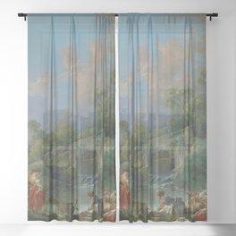 "François Boucher ""Washerwomen"" Sheer Curtain"