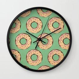 Vintage Donut Pattern Wall Clock