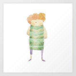 Bird Girl Character in Stripes and Plaid Art Print