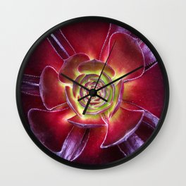 Red Succulent Wall Clock