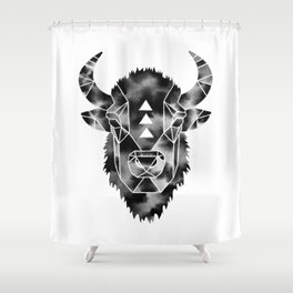 Fractured Geometric Buffalo  Shower Curtain