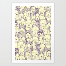 just alpacas purple cream Art Print