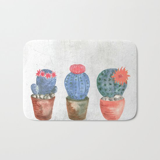 Three Blue Cacti watercolor Bath Mat