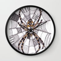 spider Wall Clocks featuring Spider by Laura Maxwell