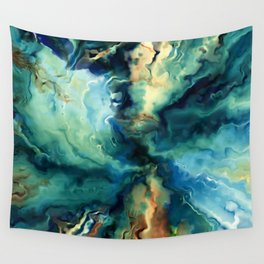Marbled Ocean Abstract, Navy, Blue, Teal, Green Wall Tapestry