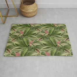 Cordyline Princess Margaret Watercolor Green Pattern Rug