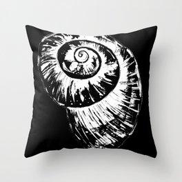 White Spiral Seashell Throw Pillow