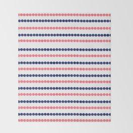 Modern nautical blue coral polka dots stripes pattern Throw Blanket