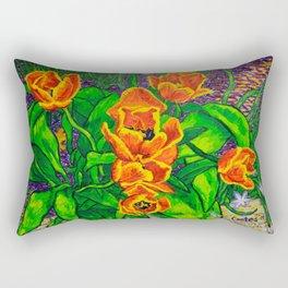 View of Tulips Rectangular Pillow