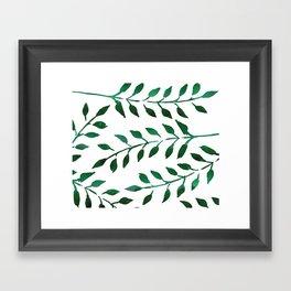 Green Watercolor Fronds Framed Art Print