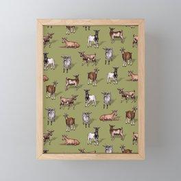 Tiny Goats on Green - Goat Herd Pattern Framed Mini Art Print