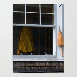 Looking through the Window of a Coastal Home in Maine Poster