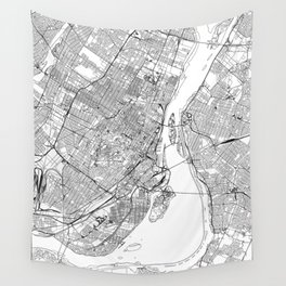Montreal White Map Wall Tapestry