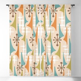Mid Century Modern Atomic Wing Composition 66 Brown Orange Blue and Olive Green Blackout Curtain
