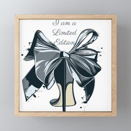 Fashion illustration with high heel shoe and bow. I am limited edition Framed Mini Art Print