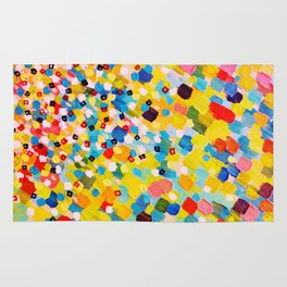 SWEPT AWAY 2 - Vibrant Colorful Rainbow Mango Yellow Waves Mermaid Splash Abstract Acrylic Painting Rug