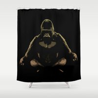 ape Shower Curtains featuring Ape Meditating by bronzarino