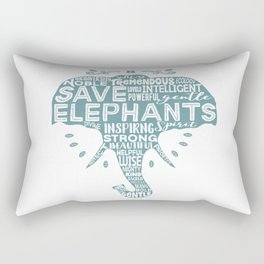 Save Elephants - Word Cloud Silhouette Rectangular Pillow
