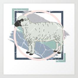 Sheep wool gift mouflon lamb buck mutton Art Print