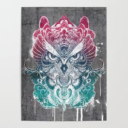 Owl and dragon colored Poster