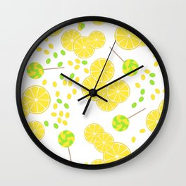 Candy sweets of lemon lollypops Wall Clock