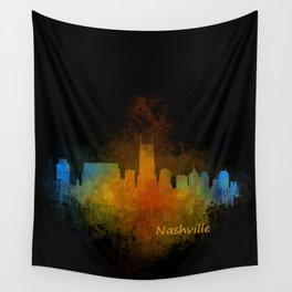 Nashville city skyline Tennessee watercolor v4 Dak Wall Tapestry