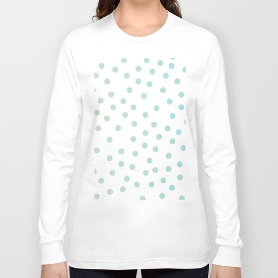 Simply Dots in Turquoise Green Blue Gradient on White Long Sleeve T-shirt
