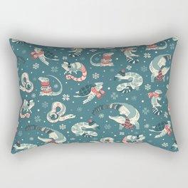 Winter herps in dark blue Rectangular Pillow