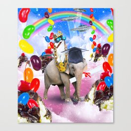 Cat Riding Elephant With Sundae And Jelly Beans Canvas Print