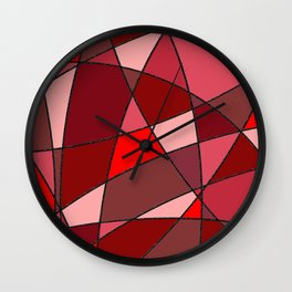 Geometric shapes in red and pink colors Wall Clock