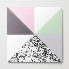 Geometrical black confetti pastel color block Metal Print