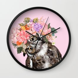 Owl with Flowers Crown in Pink Wall Clock