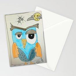 Owl at midnight Stationery Cards