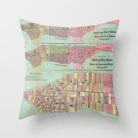 political Throw Pillows featuring Vintage NYC Political Ward Map (1870) by BravuraMedia