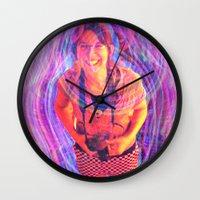 wasted rita Wall Clocks featuring Rita by Karl Doerrer-Attaway