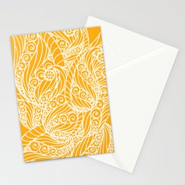 White and Yellow Feathers Stationery Cards