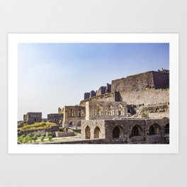 Mughal Arches Lining the Walkway up Golconda Fort in Hyderabad, India Art Print