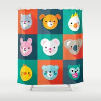 jazzberry Shower Curtains featuring PET PARADE by Daisy Beatrice