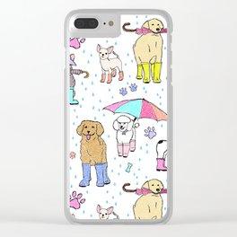Dotty Downpour Doggie Doodles Clear iPhone Case