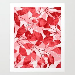 Colored Leaf Pattern 3 Art Print