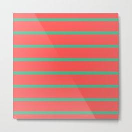 Muted Watermelon Stripes Metal Print