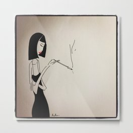 Smoking Lady Metal Print